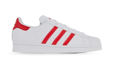 chaussures Adidas Originals Superstar Valentine blanche rouge